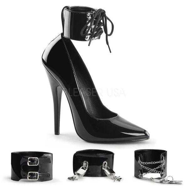 Sehr hohe schwarze High-Heel Stiletto Lack Pumps mit austauschbaren Fesselriemchen DOMINA-434